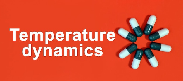 Dynamika temperatury - biały tekst na czerwonym tle z kapsułkami tabletek