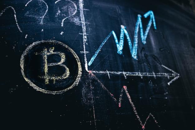 Dynamika zmian ceny kryptowaluty bitcoin rysowanie na tablicy kredowej