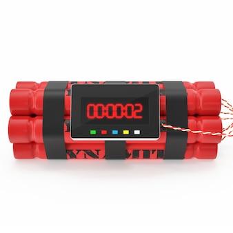 Dynamitowa bomba tnt czerwona z zegarem izolowanym