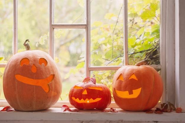 Dynia halloween na oknie
