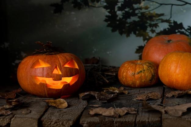 Dynia halloween świecące w tajemniczym lesie w nocy. horror jack o lantern. halloweenowy projekt z copyspace.