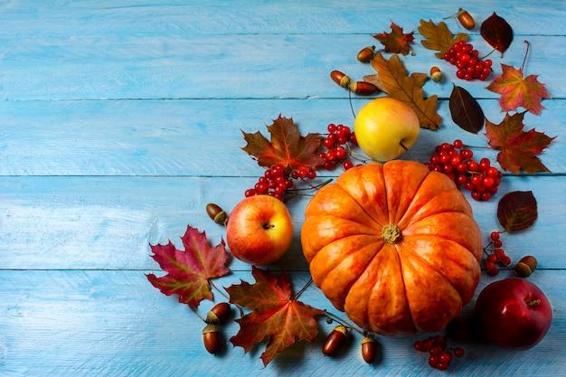Dynia, jabłka, jagody, żołędzie i spadek liści na niebieskiej przestrzeni kopii