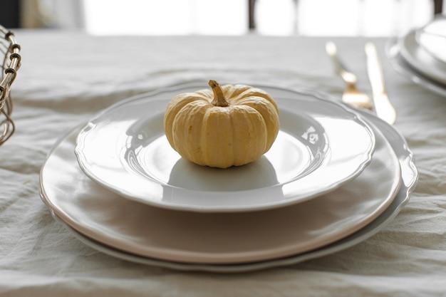 Dynia na białym talerzu jesienna kompozycja w świetle dziennym