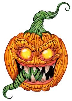 Dynia o demonicznym spojrzeniu z okropnymi zębami i długim zielonym językiem symbol halloween