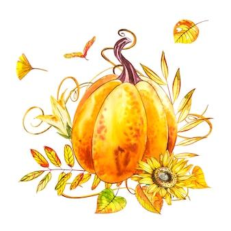 Dynia. ręcznie rysowane akwarela na białym tle. akwarela ilustracja z odrobiną. happy pumpkin święto dziękczynienia.