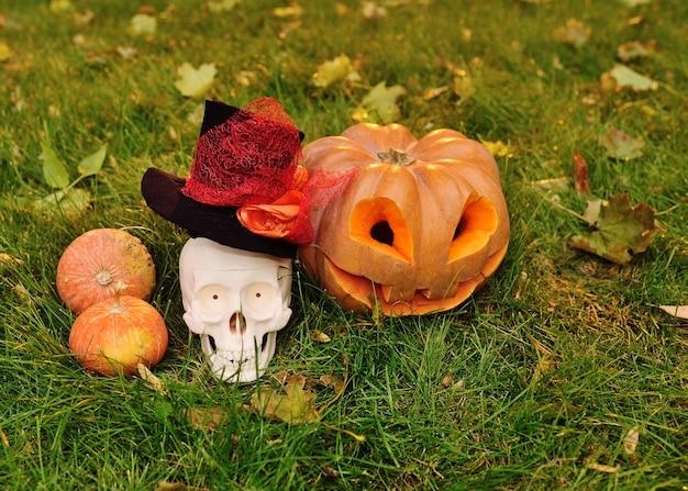 Dynia z wyciętymi oczami i uśmiechem oraz czaszka na trawie i jesiennych liściach