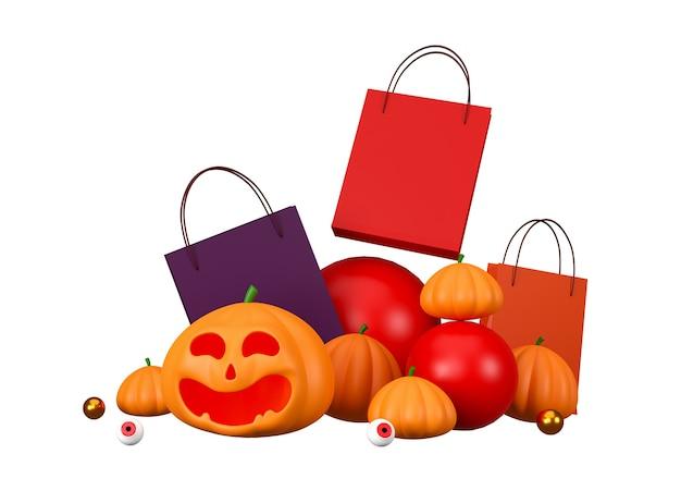 Dynie i torba na zakupy na białym tle