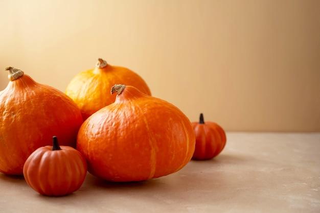 Dynie na jasnym tle. koncepcja jesień i halloween.