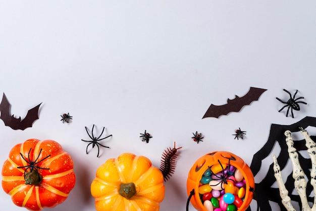 Dynie, sieć, nietoperze, pająki, stonoga i muchy na szaro.