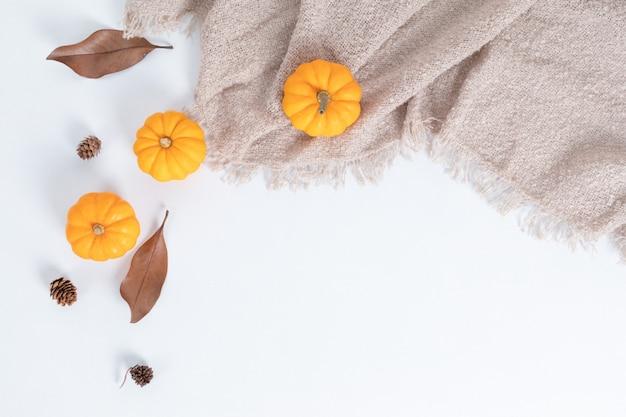 Dynie, suszone liście i orzechy na białym tle