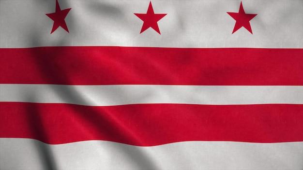 Dystrykt kolumbii usa - waszyngton, dc flaga na wietrze. renderowanie 3d