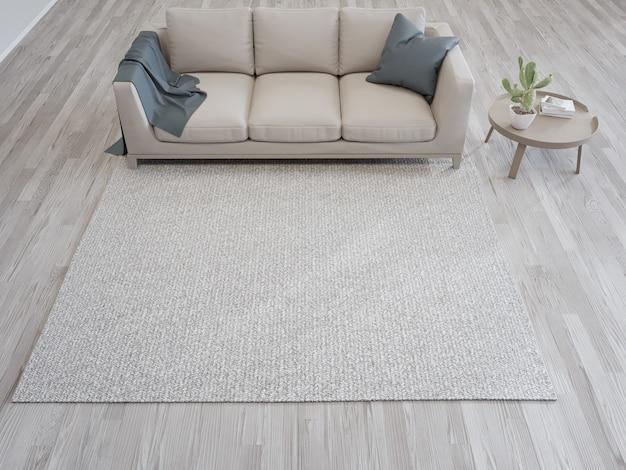 Dywan i sofa przy białej ścianie jasnego salonu w nowoczesnym domu lub mieszkaniu
