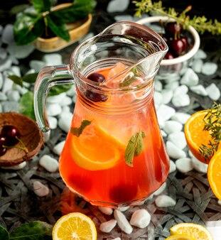 Dzbanek na sok z wiśni pomarańczowej i miętą