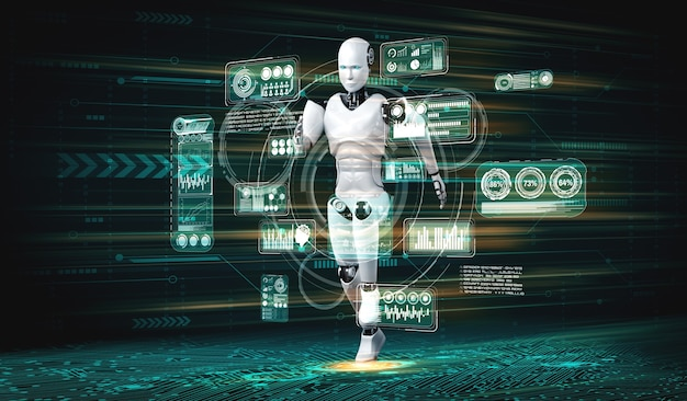 Działający humanoidalny robot pokazujący szybki ruch i energię życiową