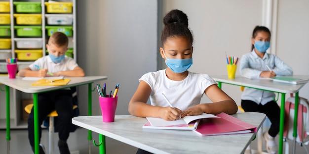 Dzieci chroniące się maseczkami medycznymi