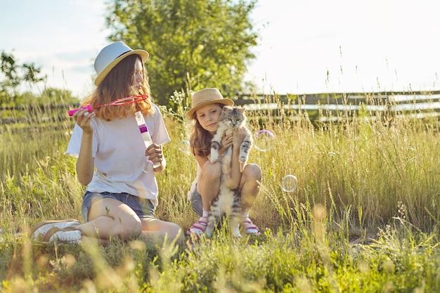 Dzieci dwie dziewczyny bawiące się z szarym puszystym kotem w przyrodzie