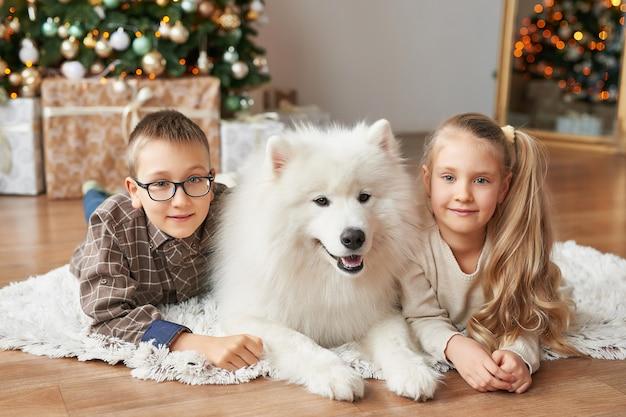Dzieci dziewczynka i chłopiec z psem samojeda na tle bożego narodzenia