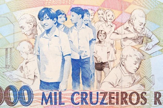 Dzieci i pracownicy ze starych brazylijskich pieniędzy