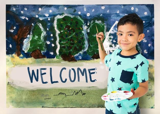 Dzieci malują domowy rysunek zimowy