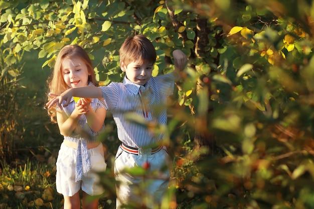 Dzieci na spacerze w lecie. dzieci oddają się w kraju. śmiech i plusk wody.