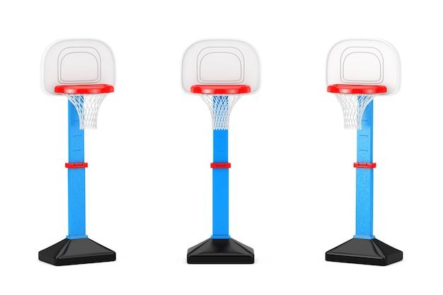Dzieci toy basketball ring z netto na białym tle. renderowanie 3d
