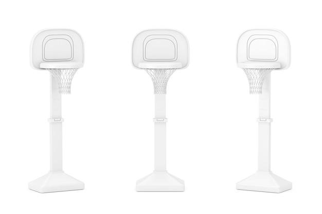 Dzieci toy basketball ring z netto w stylu clay na białym tle. renderowanie 3d