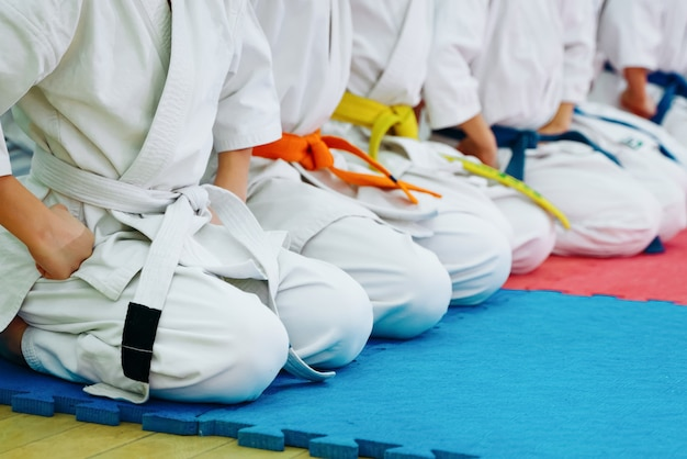 Dzieci trenujące na karate-do. baner z miejscem na tekst. do stron internetowych lub druku reklamowego.