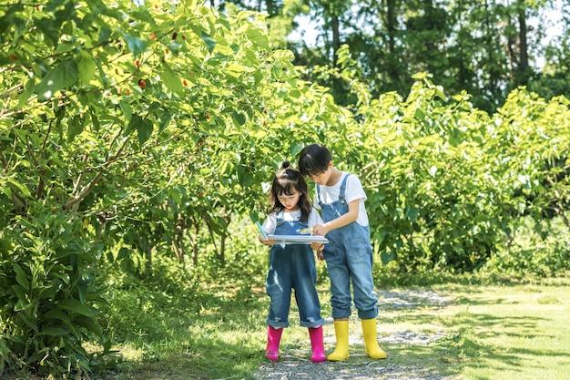 Dzieci w kombinezonach bawiące się na farmie