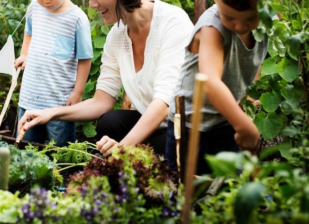 Dzieciak w ogrodowym doświadczeniu i pomyśle