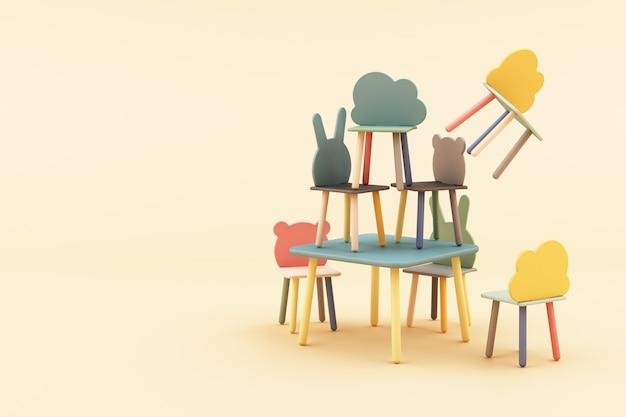 Dzieciaka zwierzęcia formy krzesło na żółtym 3d renderingu
