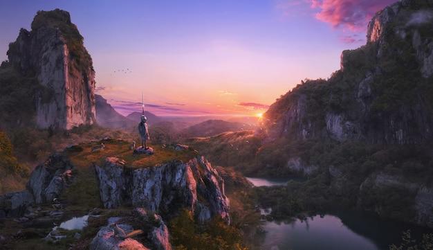 Dziecięcy wojownik (bohater) chroniący środowisko w pięknym krajobrazie zachodu słońca na fioletowym niebie pełnym natury z górami i zwierzętami