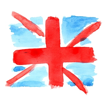 Dziecinna akwarelowa flaga wielkiej brytanii