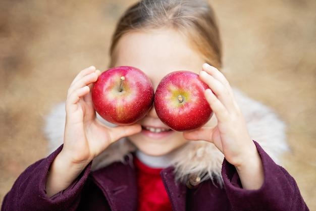 Dziecka zrywania jabłka na gospodarstwie rolnym w jesieni. mała dziewczynka bawić się w jabłoń sadzie. zdrowe odżywianie.