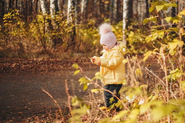Dziecko bawi się w lesie. park jesień. moda, akcesoria, spacery na świeżym powietrzu