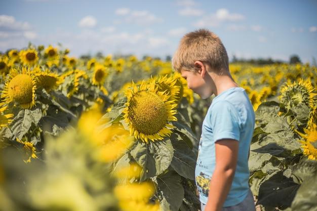 Dziecko bawiące się w zielonym wiosennym polu na tle błękitnego nieba