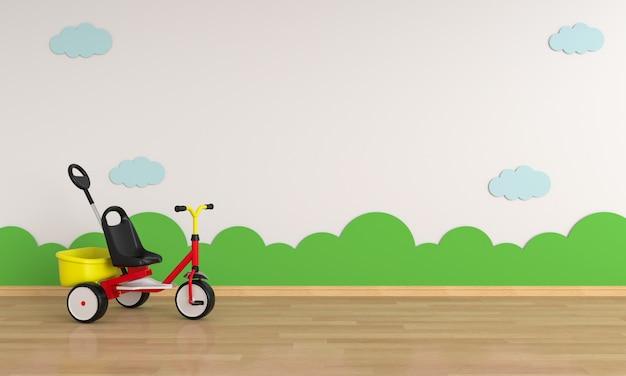 Dziecko bicykl w białym pokoju dla mockup