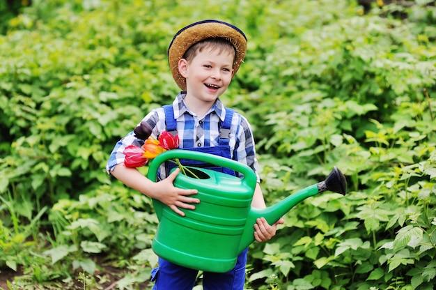 Dziecko chłopiec w słomianym kapeluszu w błękitnej pracy kostiumu ogrodniczce z bukietem tulipany i zielona podlewanie puszka