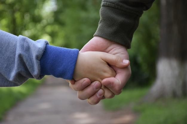 Dziecko i dorosły trzymając się za ręce. z przodu parku widoczne są tylko ręce