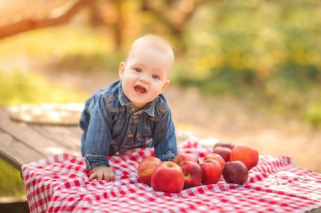 Dziecko i jabłka w przyrodzie. śmieszne małe dziecko rolnik i zbiory jabłek