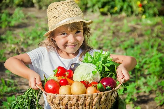 Dziecko i warzywa w gospodarstwie. selektywna ostrość.