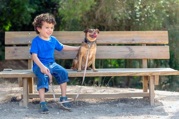 Dziecko pieszcząc swojego szczeniaka z miłością na drewnianej ławce w parku w słoneczny letni dzień