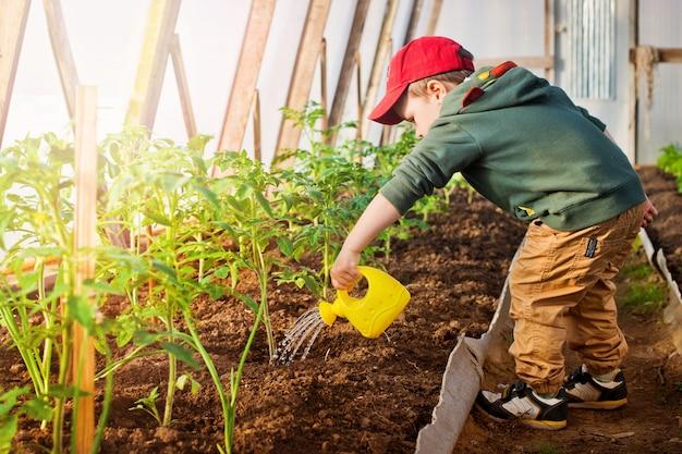Dziecko podlewa ogród
