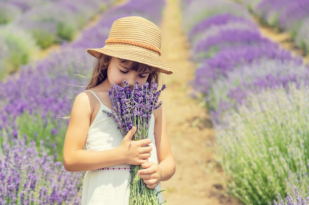 Dziecko w kwitnącym polu lawendy.