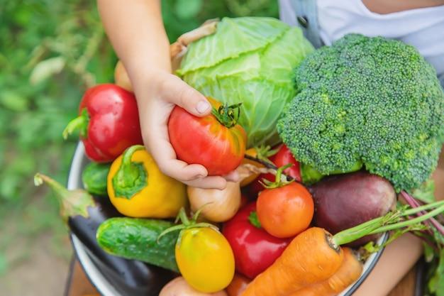 Dziecko w ogrodzie z warzywami w ręku.