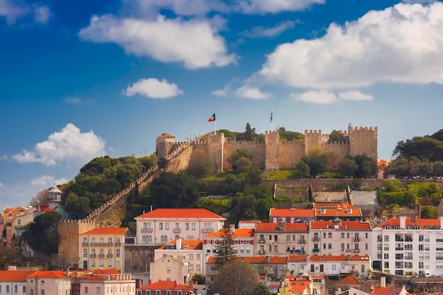 Dziejowy centrum lisbon na słonecznym dniu, portugalia