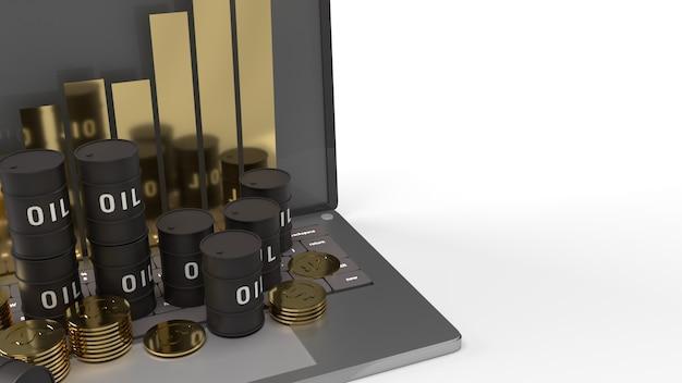 Dzięki ropy i wykres na laptopie renderowania 3d dla zawartości ropy naftowej.