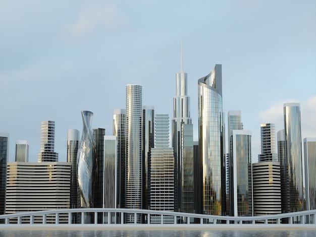 Dzielnica biznesowa centrum miasta wieżowce. renderowanie 3d