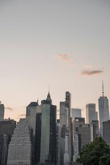 Dzielnica finansowa nowa york miasta linia horyzontu