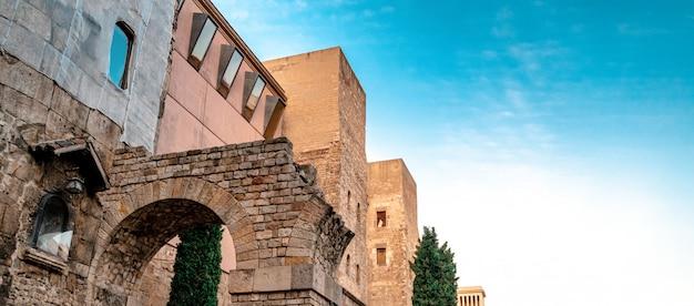 Dzielnica gotycka w barcelonie, hiszpania banner. . koncepcja podróży