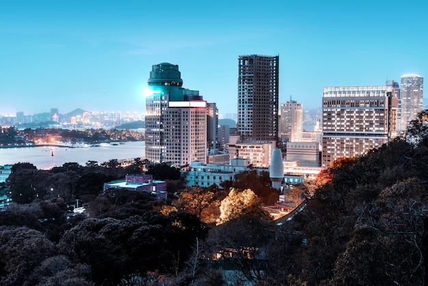 Dzielnica xiamen siming architektura miejska nocna sceneria